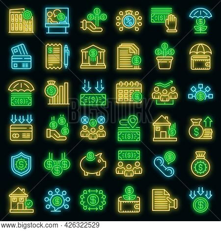Subsidy Icons Set. Outline Set Of Subsidy Vector Icons Neon Color On Black