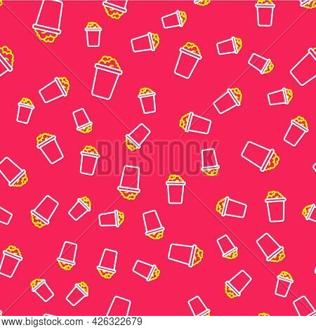 Line Bucket With Soap Suds Icon Isolated Seamless Pattern On Red Background. Bowl With Water. Washin