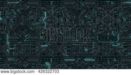 Image of glowing green light trails moving on computer circuit board. digital interface computing concept digitally generated image.