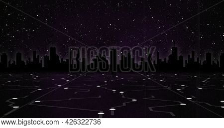 Image of glowing white points with light trails against cityscape and night sky with stars. digital interface computing concept digitally generated image.