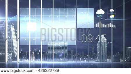Image of digital weather, time and data processing over cityscape. digital interface connection and communication concept digitally generated image.
