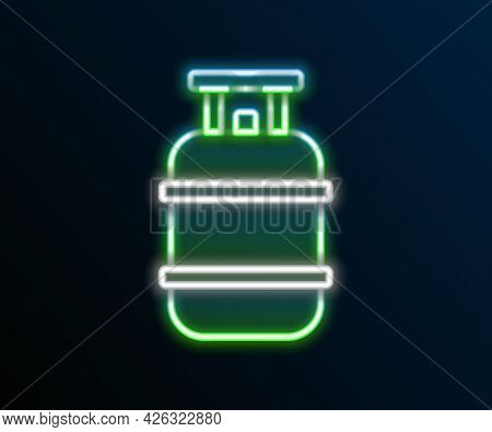 Glowing Neon Line Propane Gas Tank Icon Isolated On Black Background. Flammable Gas Tank Icon. Color