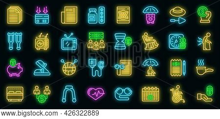 Retirement Icons Set. Outline Set Of Retirement Vector Icons Neon Color On Black