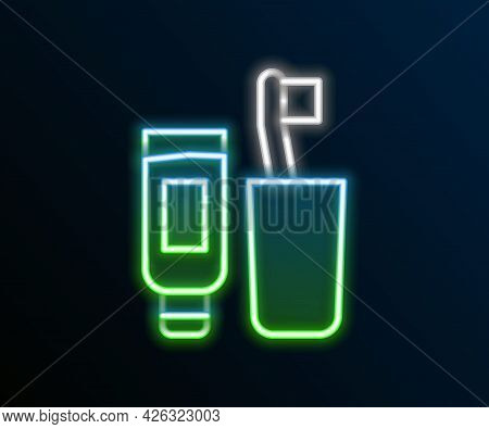 Glowing Neon Line Toothbrush And Tube Of Toothpaste Icon Isolated On Black Background. Disposable Ba