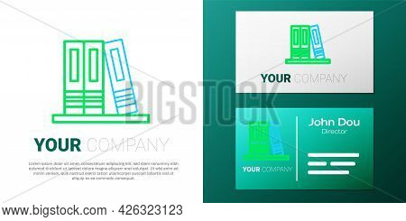 Line Office Folders With Papers And Documents Icon Isolated On White Background. Office Binders. Arc
