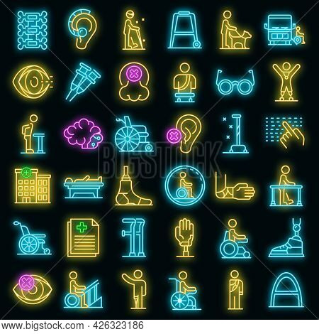 Handicapped Icons Set. Outline Set Of Handicapped Vector Icons Neon Color On Black