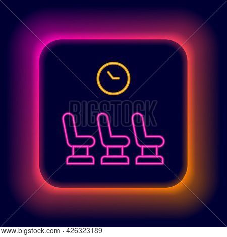 Glowing Neon Line Waiting Room Icon Isolated On Black Background. Colorful Outline Concept. Vector
