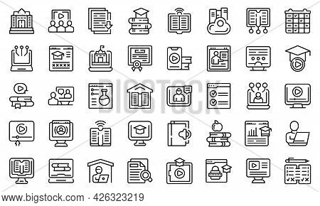 Home Schooling Icons Set Outline Vector. Counseling Scholarship. Computer Cloud Answer