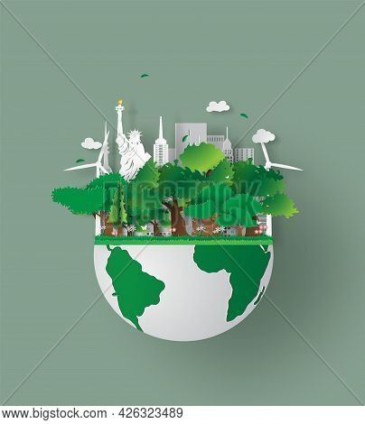 Vector Earth Day. Eco Friendly Concept Idea. Earth Day World Environment Day Background. Save The Pl