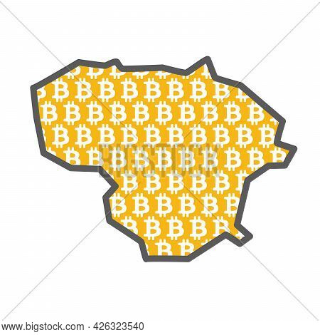 Lithuania Country Map With Bitcoin Crypto Currency Logo