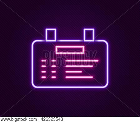 Glowing Neon Line Airport Board Icon Isolated On Black Background. Mechanical Scoreboard. Info Of Fl