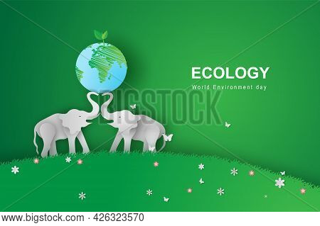 Illustration Of Elephants In Forest,creative Origami Design World Environment And Earth Day. Paper C