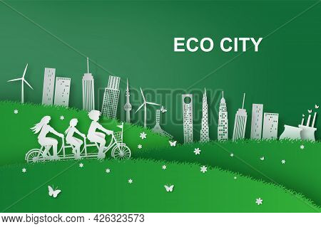 Paper Art Of Family Riding A Bicycle And Park On Green Eco City, Origami Paper Art And Cut Concept.