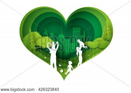 Eco Green Happy Family Having Fun Playing In The Field. Paper Cut And Craft Design Environment Natur