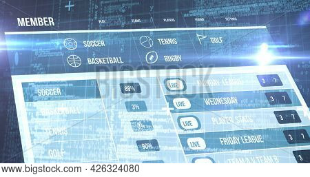 Image of screen with sports statistics over blue background. digital interface connection and communication concept digitally generated image.