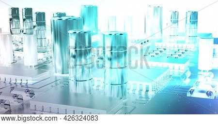 Image of glowing blue computer circuit board elements over white background. digital interface connection and communication concept digitally generated image.
