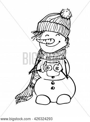 A Cute Snowman In A Hat And Scarf Holds A Mug In His Hands, A Contour Black-and-white Hand Drawing,