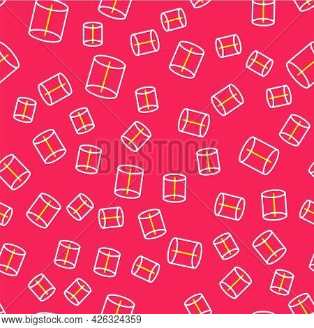Line Geometric Figure Icon Isolated Seamless Pattern On Red Background. Abstract Shape. Geometric Or