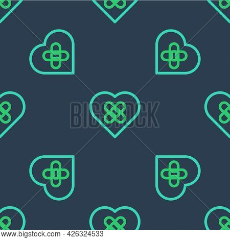 Line Healed Broken Heart Or Divorce Icon Isolated Seamless Pattern On Blue Background. Shattered And