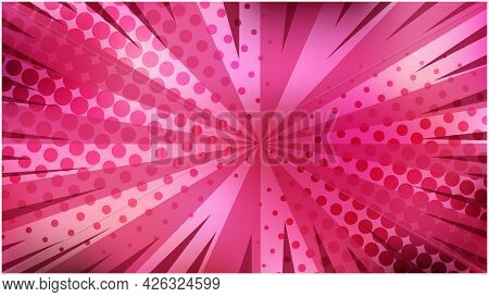 Bright Blur Pink Gradient Retro Comic Background. Dark And Light Violet Texture With Stripes And Hal