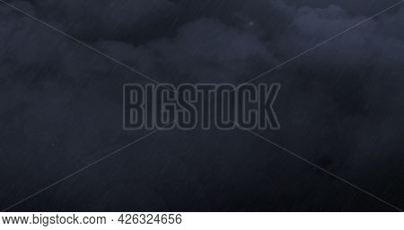 Image of thunderstorm with heavy rain and grey clouds. power of nature elements weather adversity concept digitally generated image.