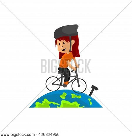 World Bicycle Day On Globe Character Design Illustration