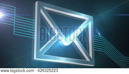 Image of digital interface envelope with glowing green lines. global online network technology connection communication concept digitally generated image.