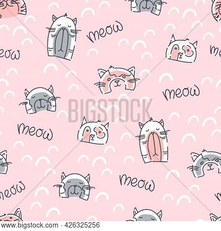 Funny Cats Seamless Pattern On A Pink Background. Children Print For Fabric, Packaging. Vector Illus