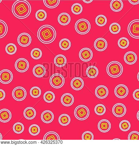 Line Chinese Yuan Currency Symbol Icon Isolated Seamless Pattern On Red Background. Coin Money. Bank