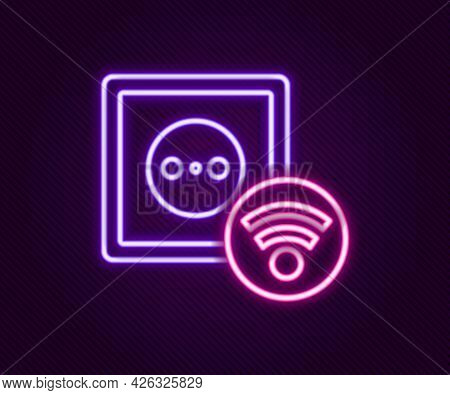 Glowing Neon Line Smart Electrical Outlet System Icon Isolated On Black Background. Power Socket. In