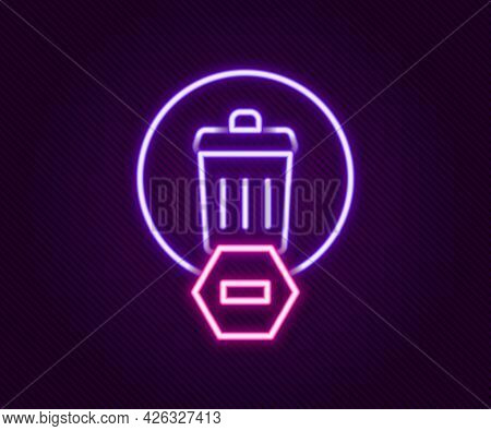 Glowing Neon Line Trash Can Icon Isolated On Black Background. Garbage Bin Sign. Recycle Basket Icon