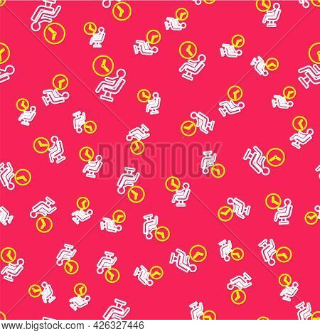 Line Human Waiting In Airport Terminal Icon Isolated Seamless Pattern On Red Background. Vector