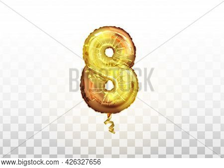 Golden Number Eight 8 Metallic Balloon. Party Decoration Golden Balloons. Anniversary Sign For Happy