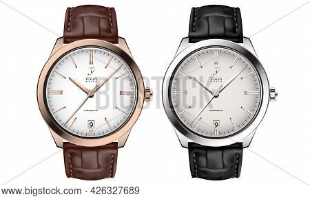 Realistic Watch Clock Gold Silver Leather Strap Black Brown Collection On White Design Classic Luxur