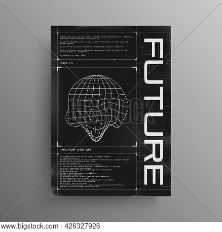 Retrofuturistic Poster With Hud Elements And Broken Laser Grid. Black And White Poster Design In Cyb