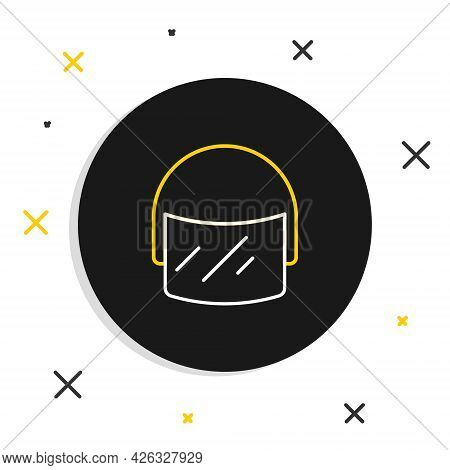 Line Police Helmet Icon Isolated On White Background. Military Helmet. Colorful Outline Concept. Vec