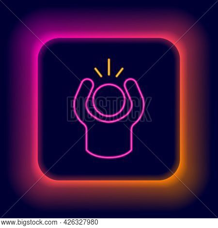 Glowing Neon Line Anger Icon Isolated On Black Background. Anger, Rage, Screaming Concept. Colorful
