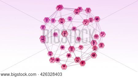 Image of network of connections with digital pink medical icons forming globe rotating on white background. Digital interface global computer network concept digitally generated image.