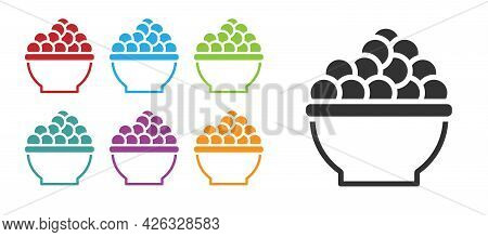 Black Caviar Icon Isolated On White Background. Set Icons Colorful. Vector