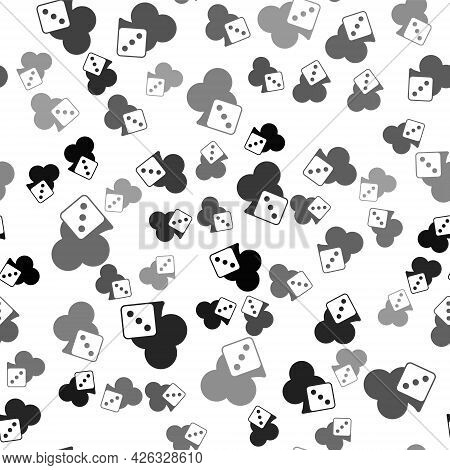 Black Game Dice Icon Isolated Seamless Pattern On White Background. Casino Gambling. Vector