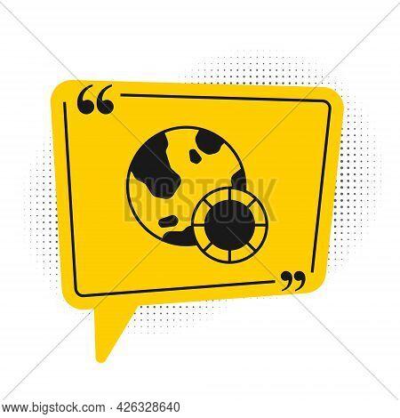 Black Casino Chips Icon Isolated On White Background. Casino Gambling. Yellow Speech Bubble Symbol.
