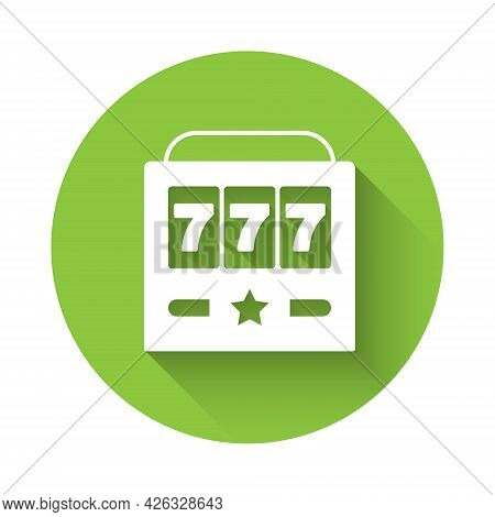 White Slot Machine With Lucky Sevens Jackpot Icon Isolated With Long Shadow. Green Circle Button. Ve