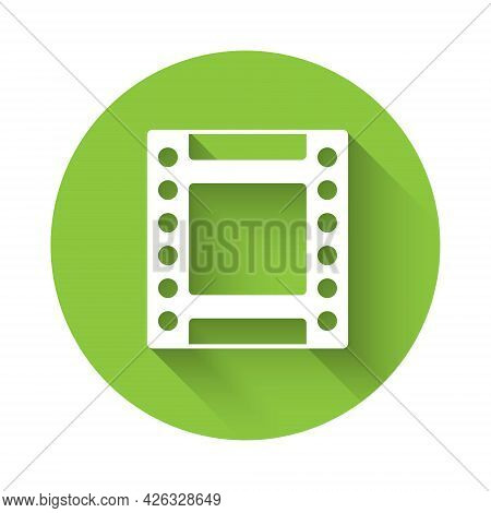 White Camera Vintage Film Roll Cartridge Icon Isolated With Long Shadow. 35mm Film Canister. Filmstr