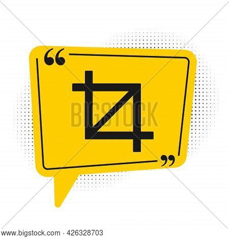 Black Picture Crop Photo Icon Isolated On White Background. Yellow Speech Bubble Symbol. Vector