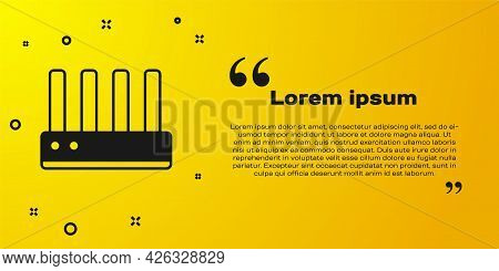 Black Router And Wi-fi Signal Icon Isolated On Yellow Background. Wireless Ethernet Modem Router. Co