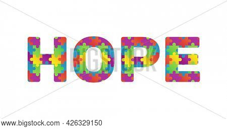 Image of multi coloured puzzle elements forming word Hope symbol of Autism Awareness Month on white background. Autism awareness support concept digitally generated image.