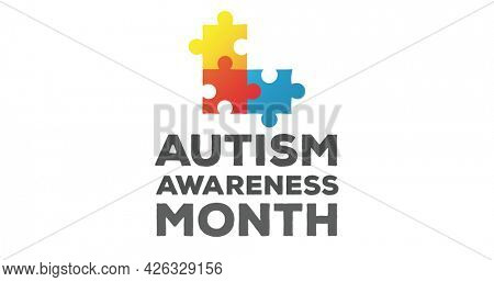 Image of multi coloured puzzle elements forming square words Autism Awareness Month on white background. Autism awareness support concept digitally generated image.