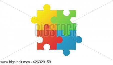 Image of four multi coloured puzzle elements forming square Autism Awareness Month symbol on white background. Autism awareness support concept digitally generated image.