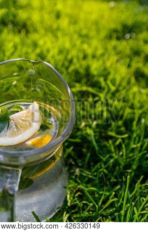 Defocus Cropped Glass Jug Of Lemonade With Lemon And Mint On Natural Green Nature Background. Pitche