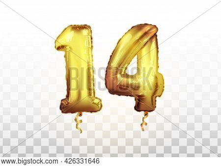 Vector Realistic Isolated Golden Balloon Number Of 14 For Invitation Decoration On The Transparent B